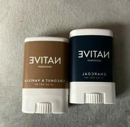 2 NEW TRAVEL SIZED DEODORANTS - by Native: CHARCOAL and COCO