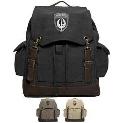 Army Force Gear Air Borne Vintage Canvas Rucksack Backpack W