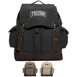 Army Force Gear Air Soft Vintage Canvas Rucksack Backpack Wi