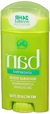 Ban Invisible Solid Antiperspirant and Deodorant, Unscented,