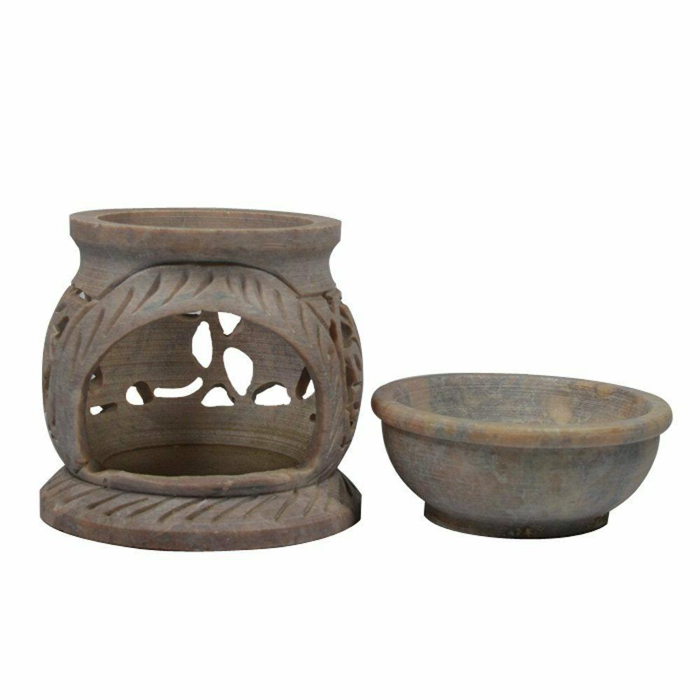 Natural Stoneware Aroma Oil Burner & Tealight Candle Free IND