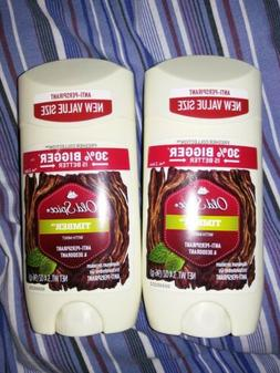 New/Unopened 2X Old Spice Timber w/ Mint Anti-Perspirant & D