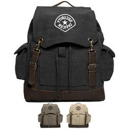 Army Force Gear Security Officer Canvas Rucksack Backpack Wi